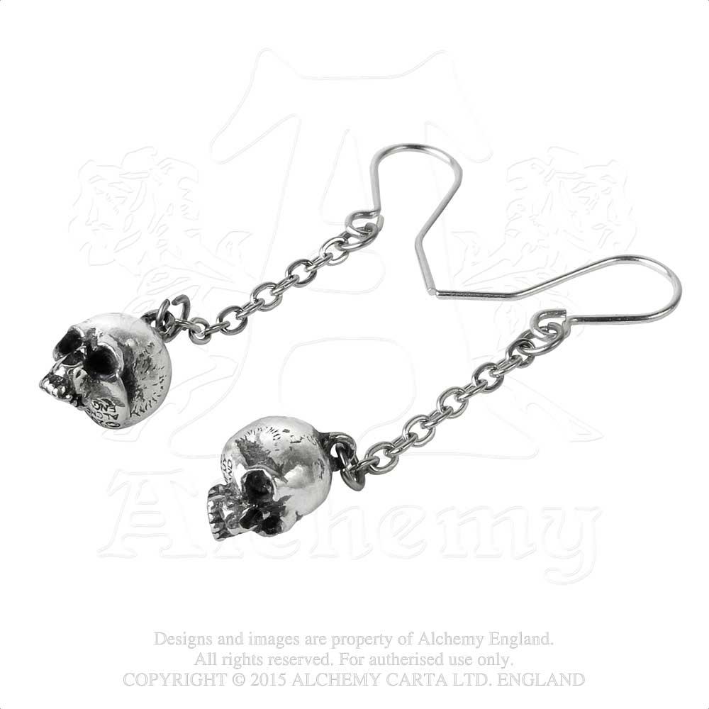 Alchemy Gothic Deadskull Pair of Earrings - Gothic Spirit