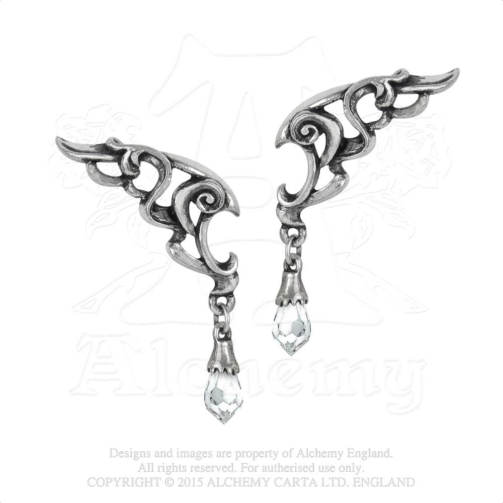 Alchemy Gothic Wings of Eternity Pair of Earrings - Gothic Spirit