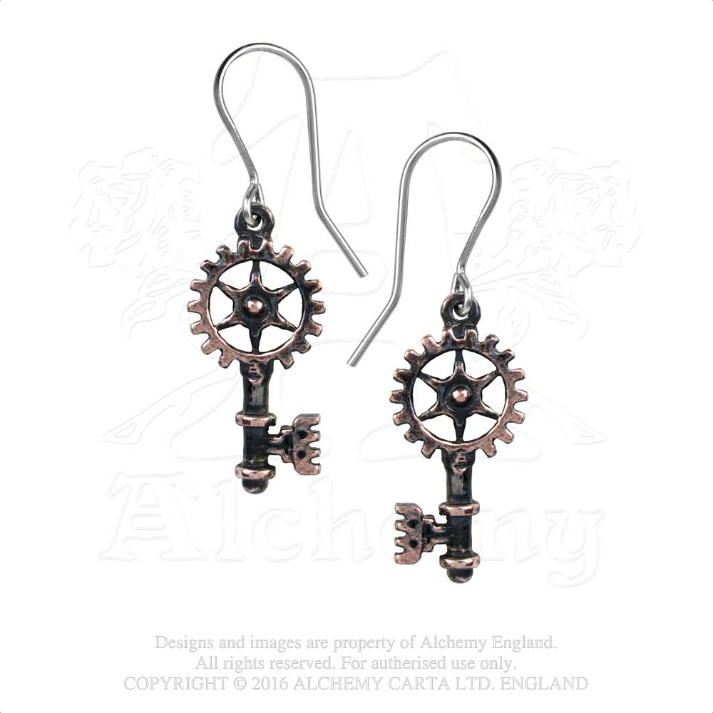 Alchemy Empire: Steampunk Clavitraction Pair of Earrings - Gothic Spirit