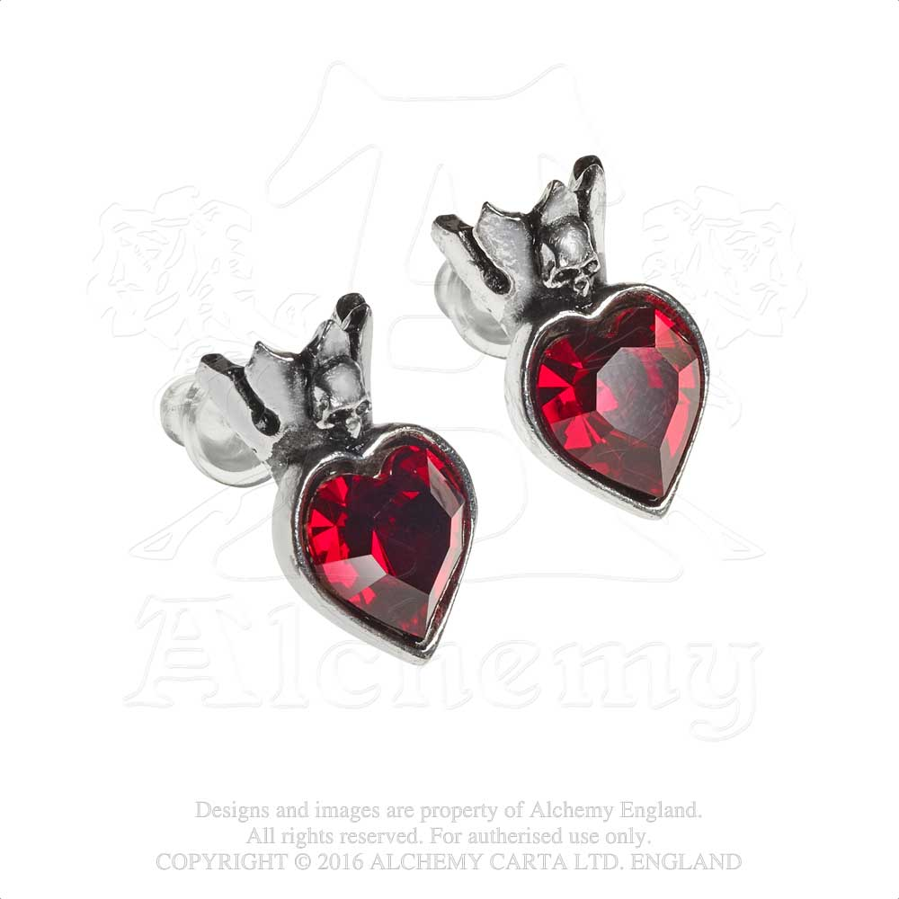 Alchemy Gothic Claddagh Heart Pair of Earrings - Gothic Spirit