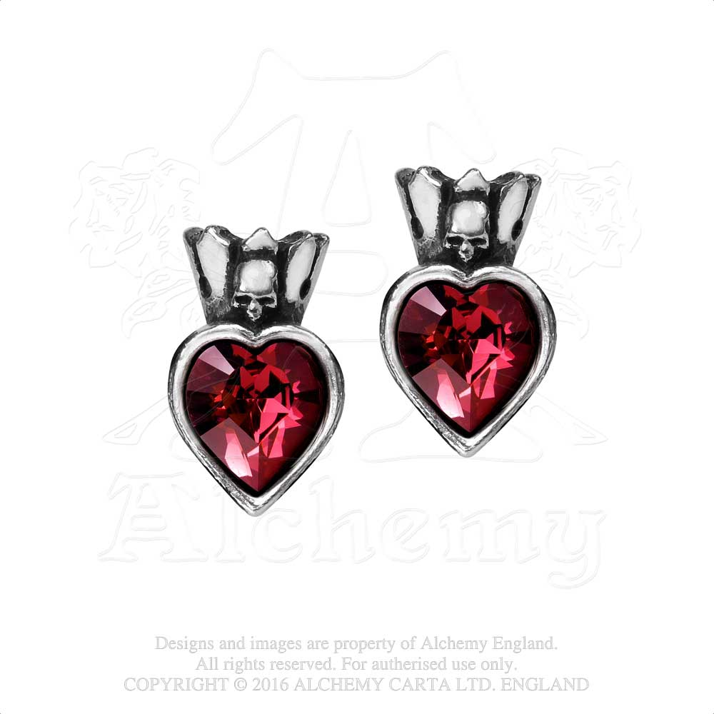 Alchemy Gothic Claddagh Heart Pair of Earrings from Gothic Spirit