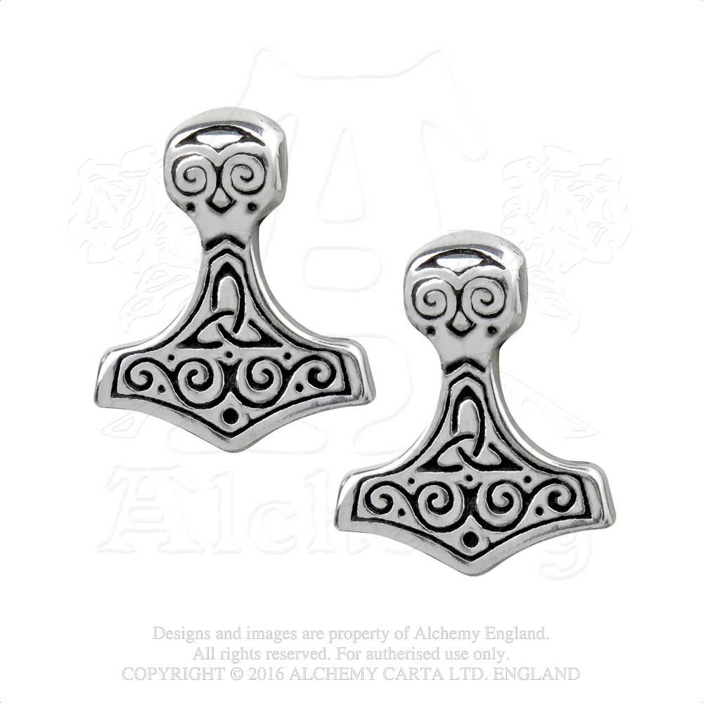 Alchemy Gothic Thor Hammer Pair of Earrings - Gothic Spirit