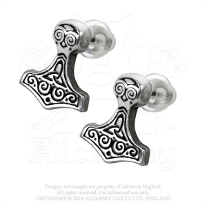 Alchemy Gothic Thor Hammer Pair of Earrings from Gothic Spirit