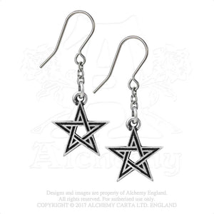 Alchemy Gothic Black Star Pair of Earrings from Gothic Spirit