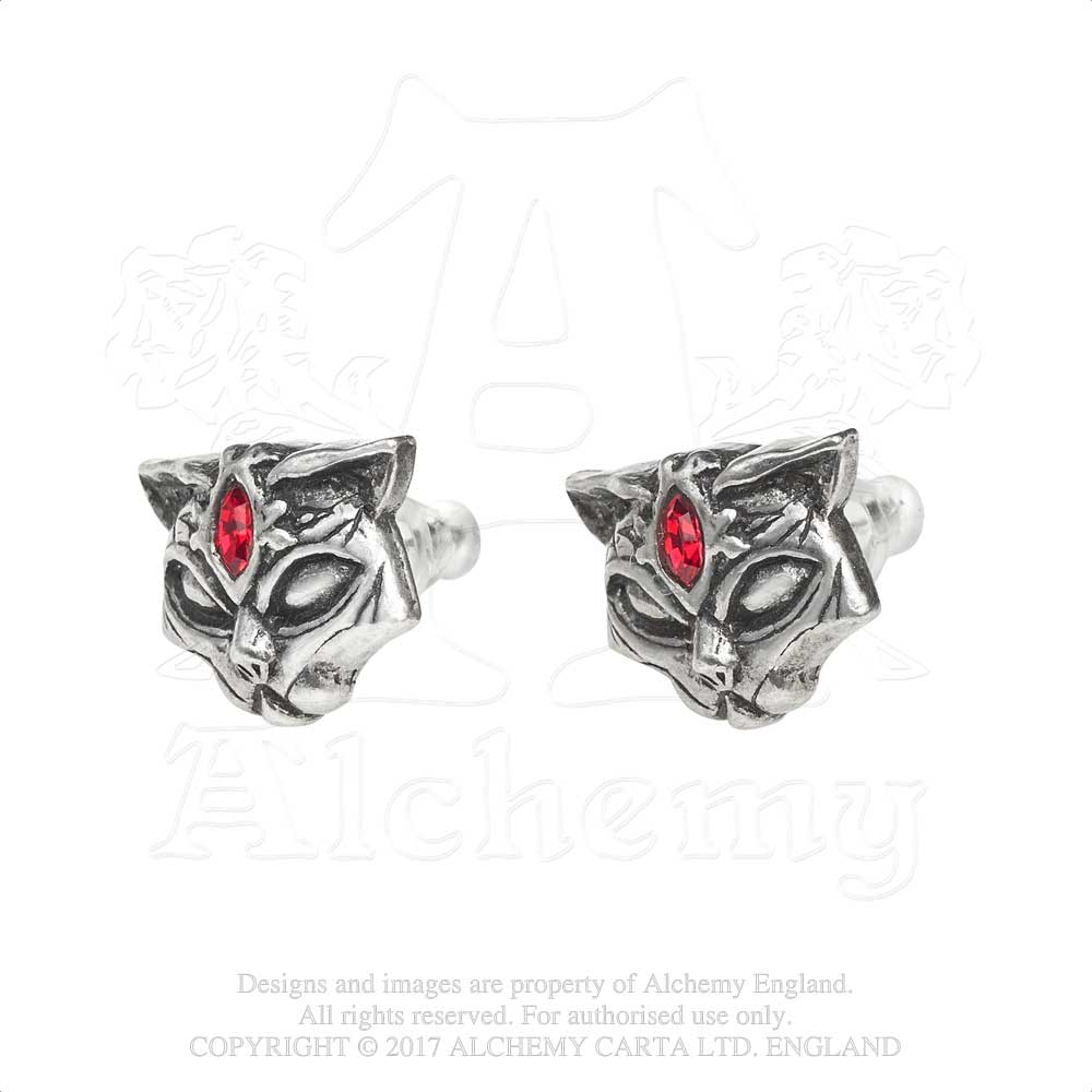 Alchemy Gothic Sacred Cat Studs Pair of Earrings - Gothic Spirit