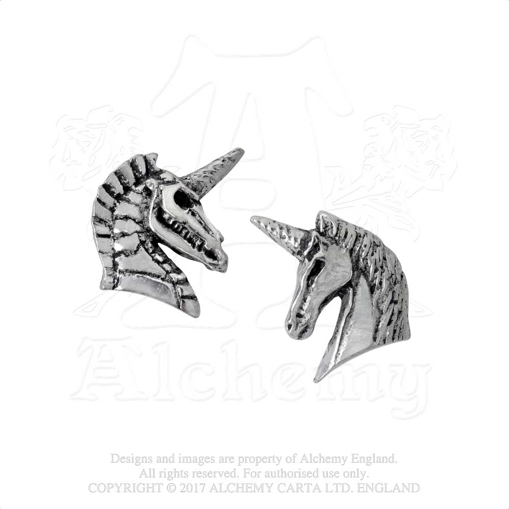 Alchemy Gothic Unicorn Pair of Earrings - Gothic Spirit
