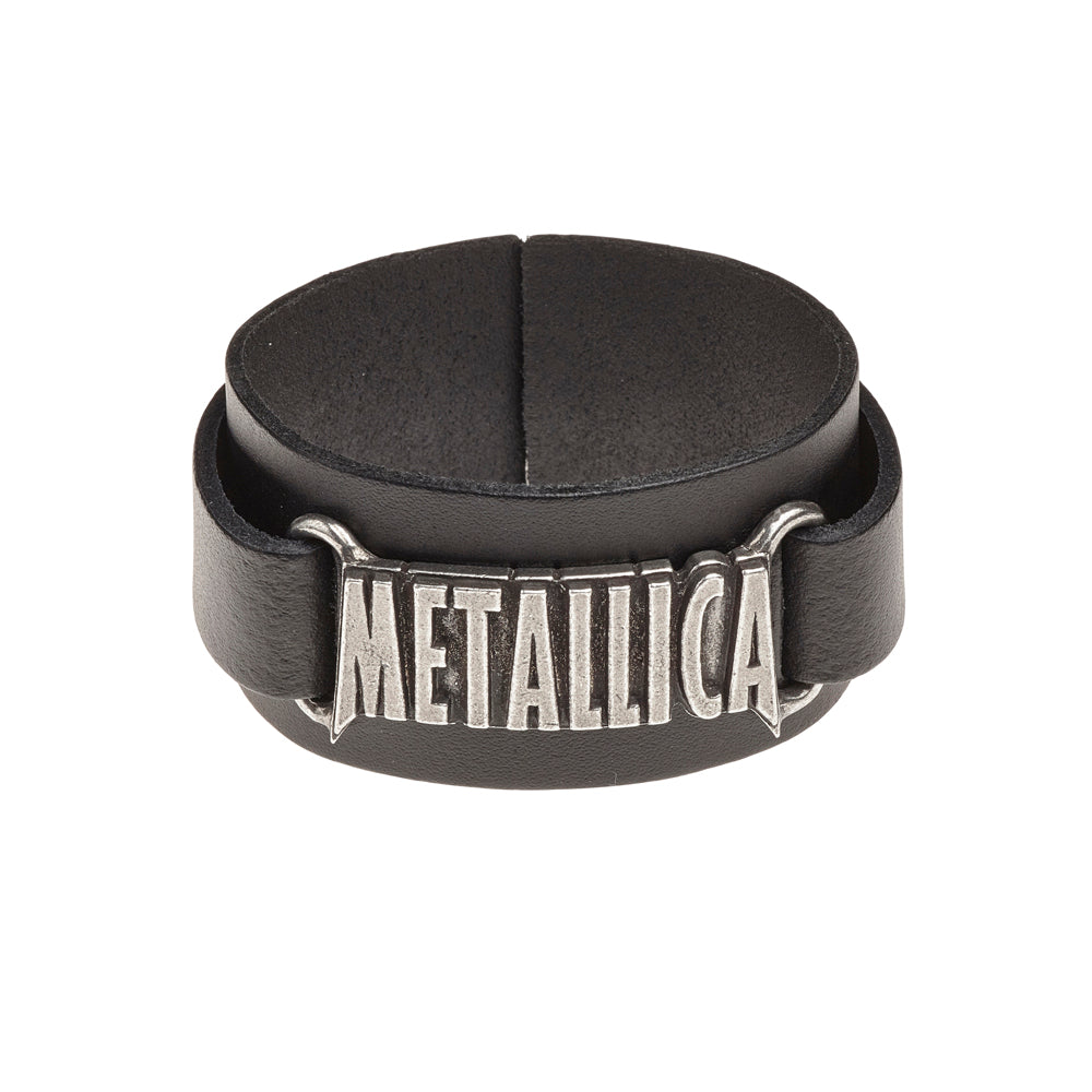Alchemy Rocks Metallica: logo Leather Wriststrap - Gothic Spirit