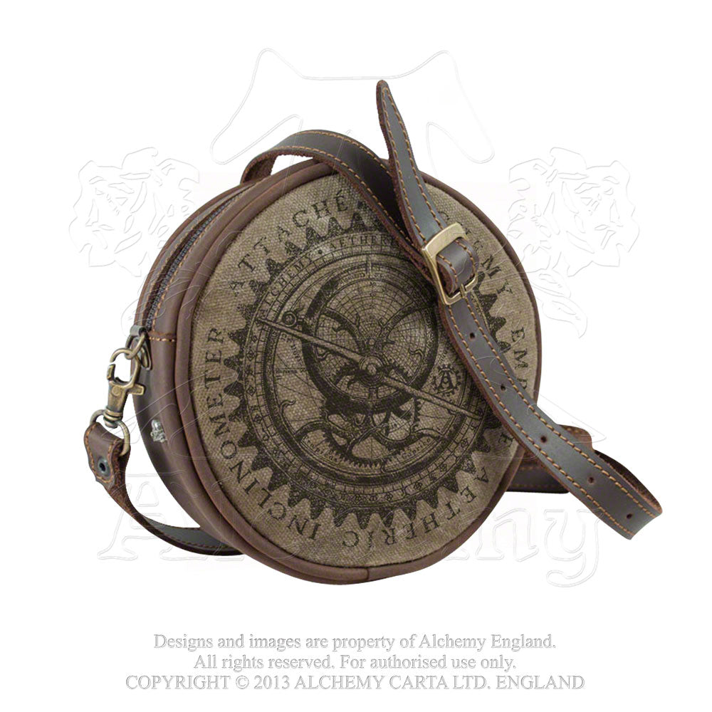 Alchemy Empire: Steampunk Aetheric Inclinometer Attache Leather Purse - Gothic Spirit