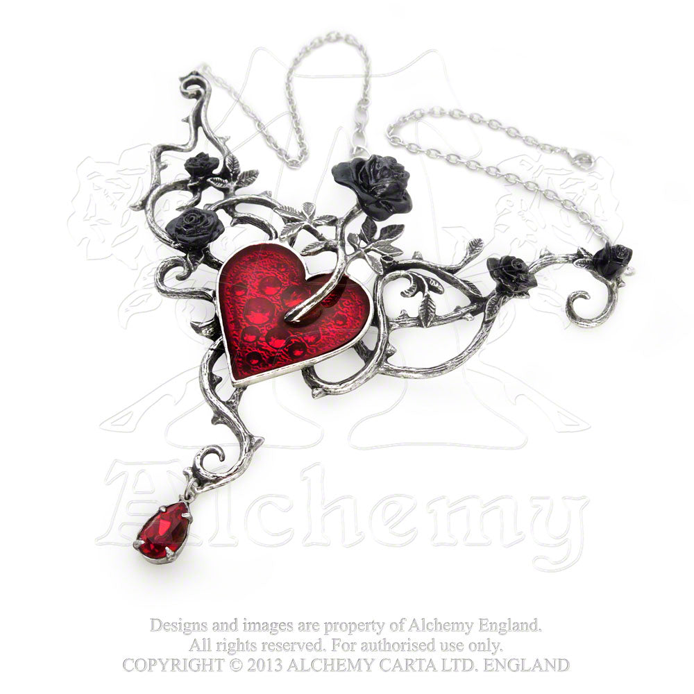 Alchemy Gothic Bed Of Blood-Roses Necklace - Gothic Spirit