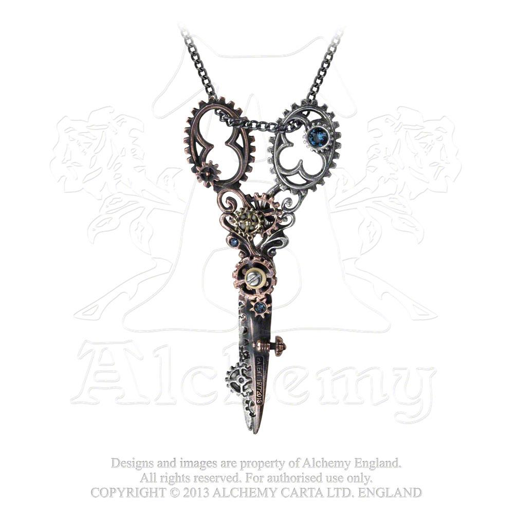 Alchemy Empire: Steampunk Pinkington's Precision Warp-Dissection Shears Necklace from Gothic Spirit