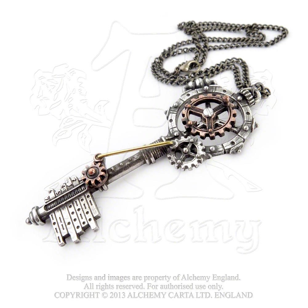Alchemy Empire: Steampunk Septagramic Coercion Gearwheel Key Pendant from Gothic Spirit