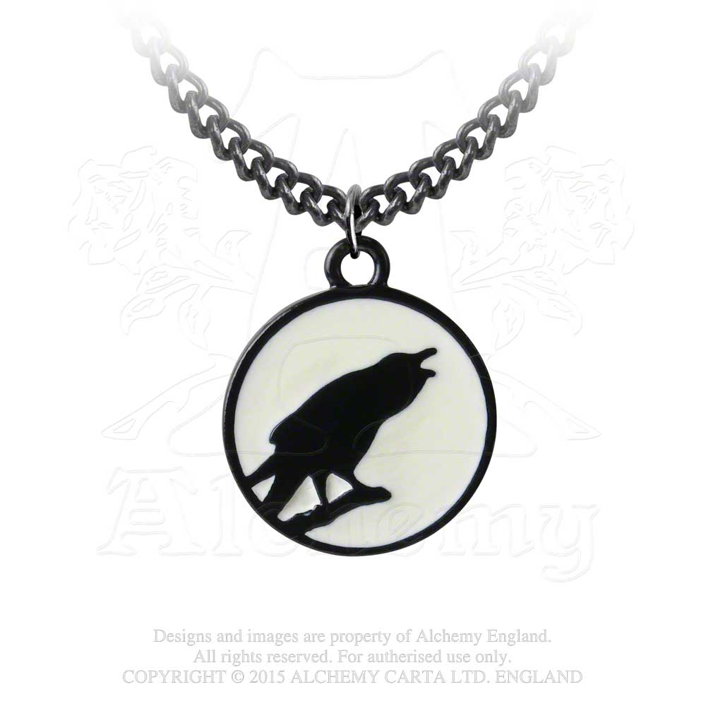 Alchemy Gothic Caw at the Moon Pendant - Gothic Spirit