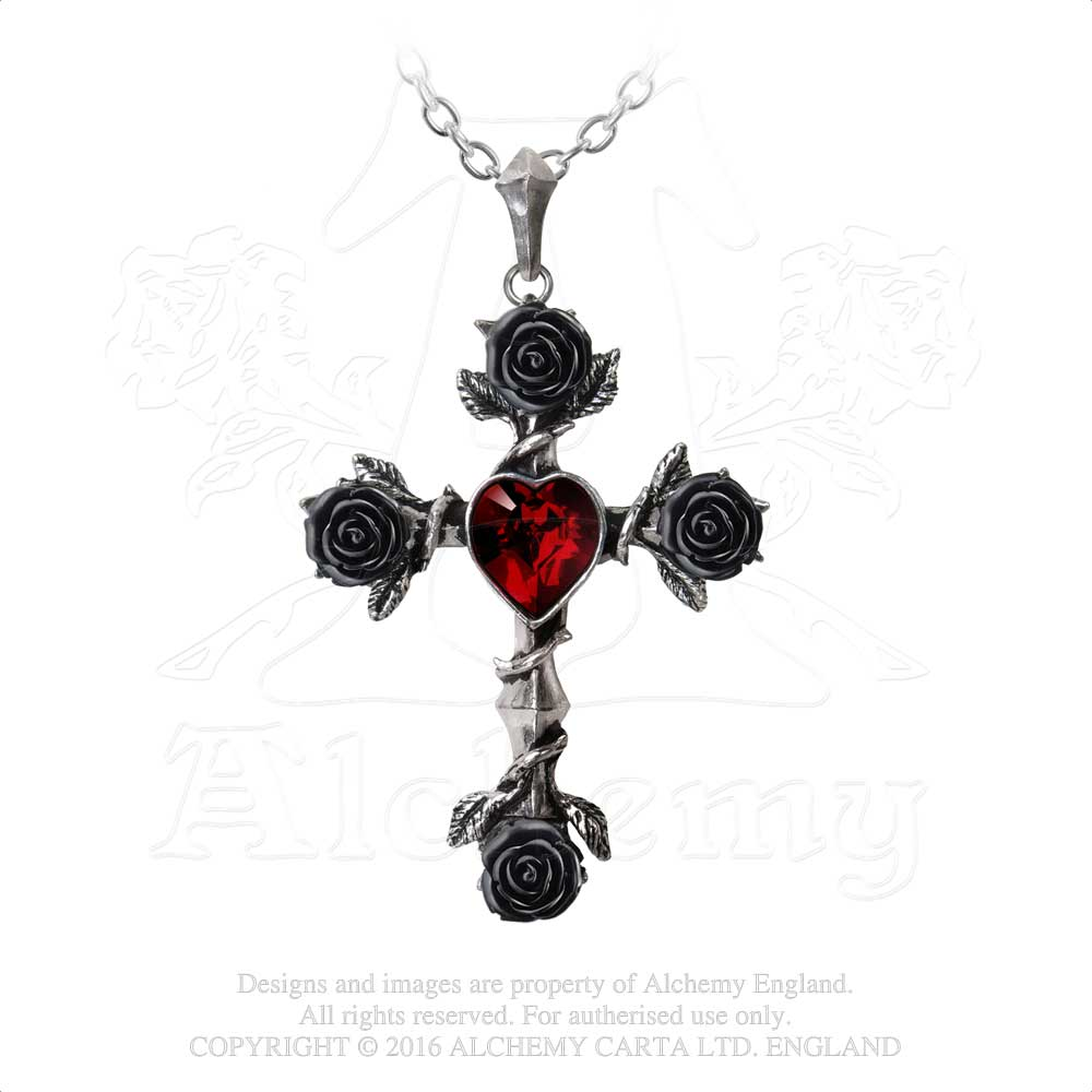 Alchemy Gothic Black Rosifix Pendant from Gothic Spirit