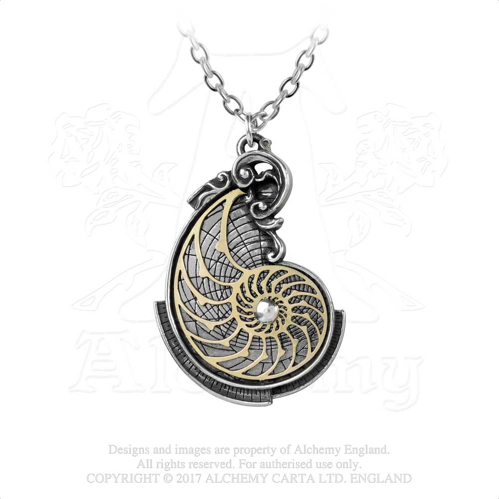 Alchemy Empire: Steampunk Fibonacci's Golden Spiral Pendant from Gothic Spirit