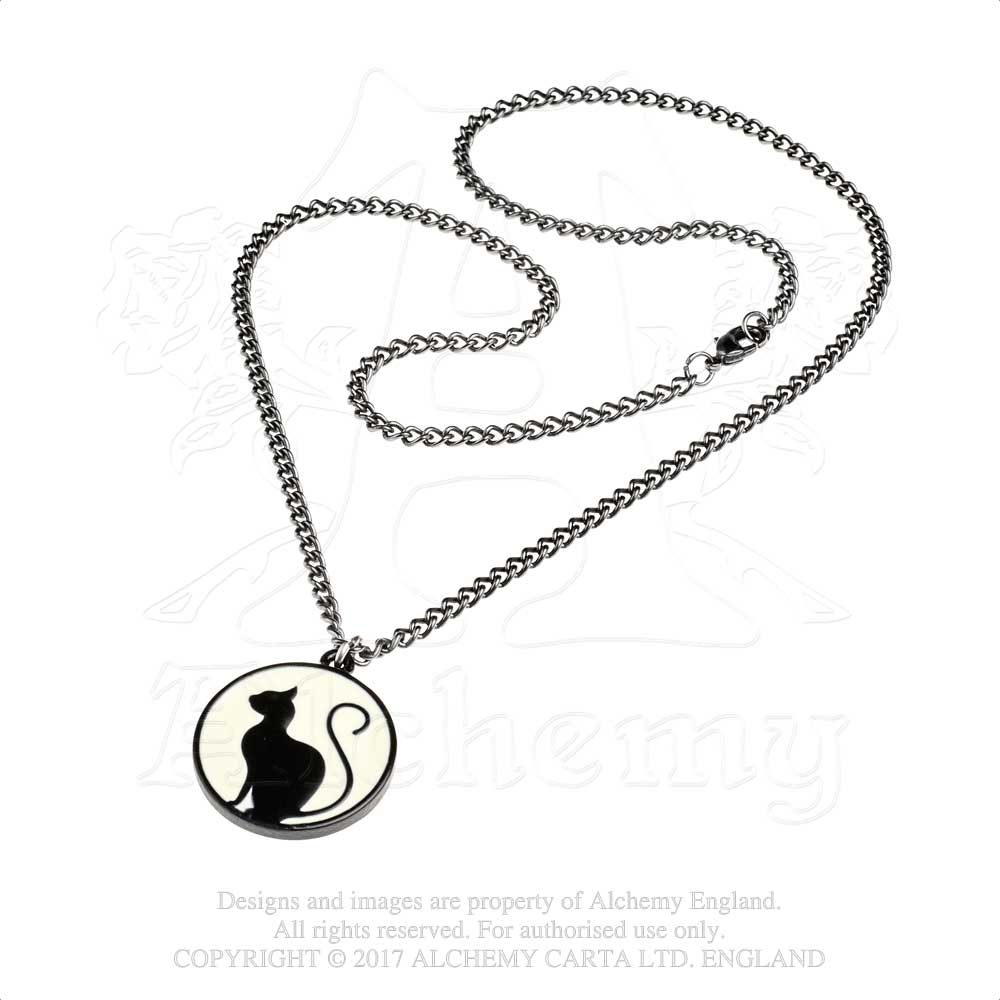 Alchemy Gothic Meow at the Moon Pendant from Gothic Spirit