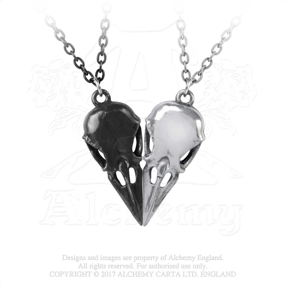 Alchemy Gothic Coeur Crane - Couple's Friendship Necklace Pendant - Gothic Spirit