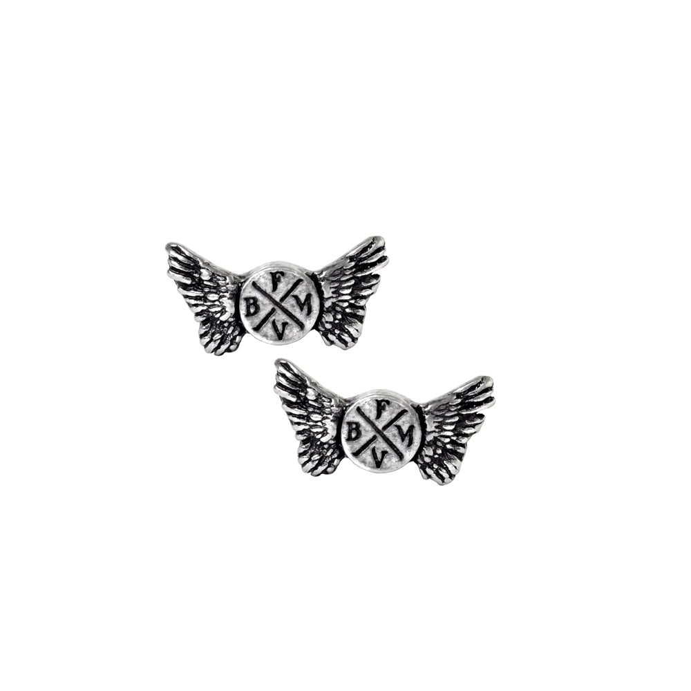 Alchemy Rocks Bullet for my Valentine: Wings Logo Pair of Earrings from Gothic Spirit