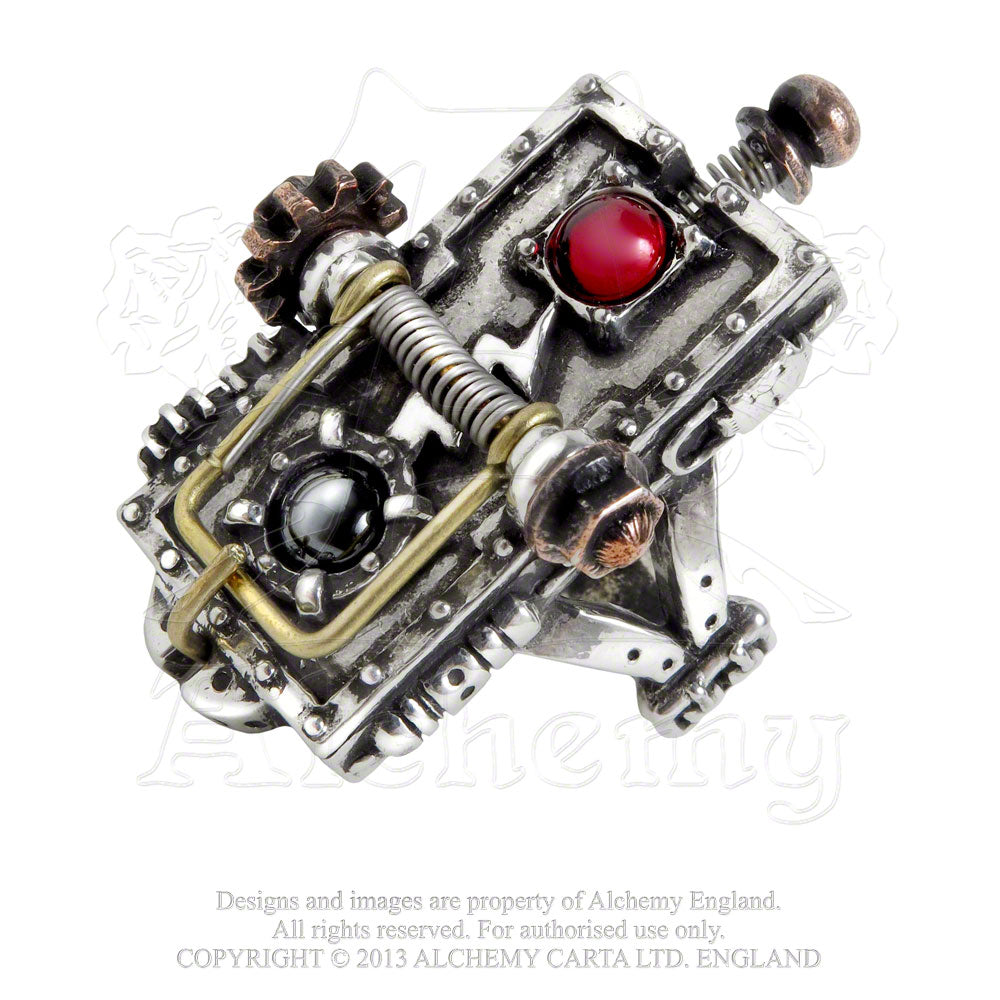 Alchemy Empire: Steampunk Van Helsing Kinetic Vampire-Mosquito Trap Ring from Gothic Spirit