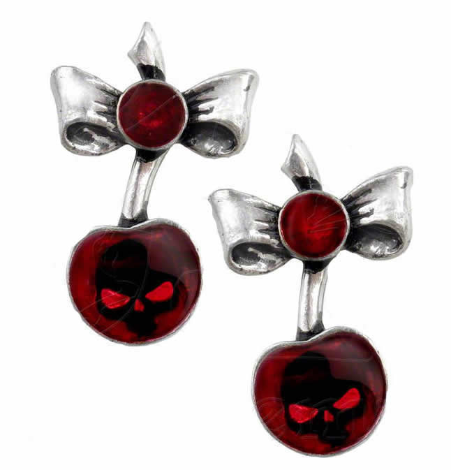Alchemy UL17 Black Cherry Pair of Earrings - Gothic Spirit