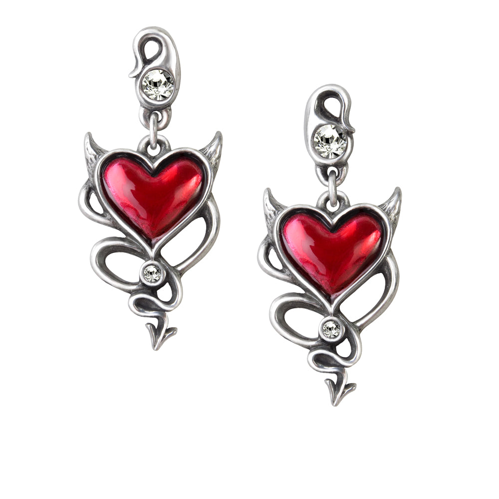 Alchemy UL17 Devil Heart Pair of Earrings - Gothic Spirit