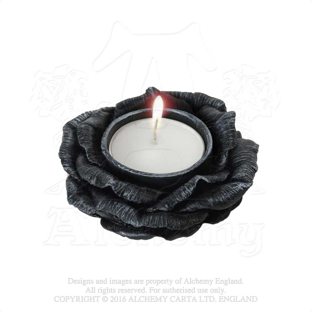 Alchemy - The Vault Black Rose T-Light Holder from Gothic Spirit