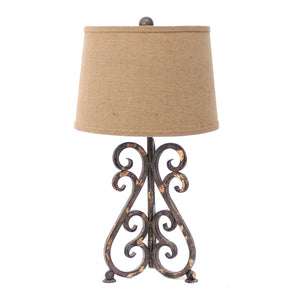 "13"" x 11"" x 23.75"" Bronze, Vintage Metal, Khaki Linen Shade - Table Lamp - Buy JJ's Stuff"