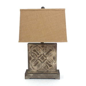 "4.75"" x 11.75"" x 24.75"" Brown, Vintage with Khaki Linen Shade - Table Lamp - Buy JJ's Stuff"