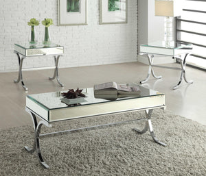 "42"" X 21"" X 19"" Mirrored Top And Chrome Coffee Table"