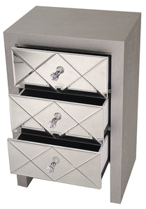 "17'.7"" X 13"" X 28"" Silver MDF, Wood, Mirrored Glass Accent Cabinet with Mirrored Glass Drawers"
