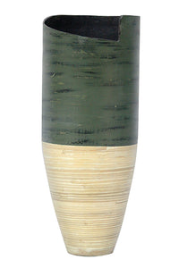"10'.25"" X 10'.25"" X 25"" Distressed Green & Natural Bamboo Bamboo Spun Bamboo Vase - Buy JJ's Stuff"