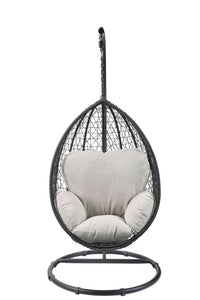 "38"" X 38"" X 79"" Beige Fabric And Black Wicker Patio Swing Chair With Stand - Buy JJ's Stuff"