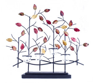 "22'.5"" X 5"" X 25'.5"" Copper, Red And Gold Metal Tree Foiled And Lacquered Votive Holder"