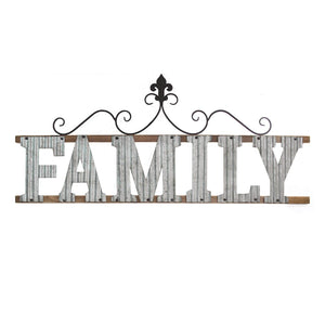 "38.98"" X 0.79"" X 16.14"" Galvanized Family Wall Sign"