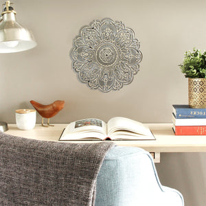 "13"" X 0.5"" X 13"" Small Gray Medallion Wall Decor"