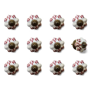 "1.5"" x 1.5"" x 1.5"" White, Burgundy and Copper- Knobs 12-Pack - Buy JJ's Stuff"