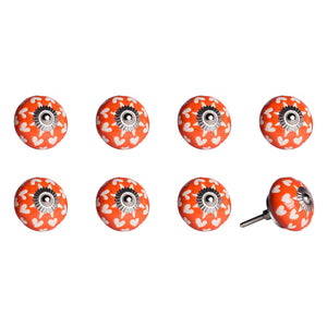 "1.5"" x 1.5"" x 1.5"" Hues Of Orange, White And Silver - Knobs 8-Pack"