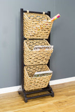 "11'.8"" X 15"" X 42'.25"" Brown Wood, MDF, Water Hyacinth Water Hyacinth Magazine Rack with Baskets"