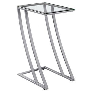 "15'.75"" x 12"" x 24"" Silver, Clear, Metal, Tempered Glass - Accent Table - Buy JJ's Stuff"