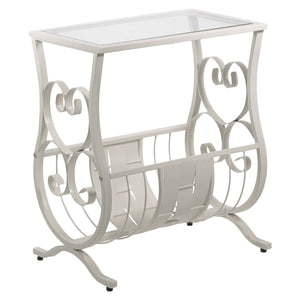 "11'.5"" x 18'.5"" x 21'.75"" White, Metal, Tempered Glass - Accent Table - Buy JJ's Stuff"