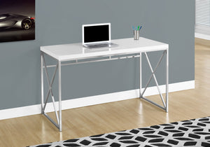 "29.75"" Glossy White Particle Board and Chrome Metal Computer Desk - Buy JJ's Stuff"