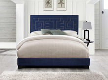 "80"" X 86"" X 50"" Dark Blue Velvet Upholstered (Bed) Wood Leg Eastern King Bed - Buy JJ's Stuff"