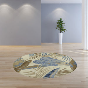 "7'6"" Round Wool Ivory-Blue Area Rug - Buy JJ's Stuff"