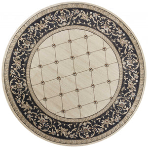 "7'10"" Round Polypropylene Ivory-Grey Area Rug - Buy JJ's Stuff"