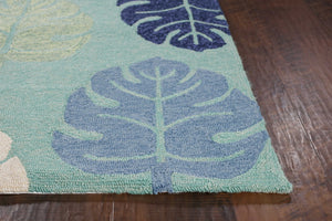 "5' x 7'6"" UV-treated Polypropylene Turquoise Area Rug - Buy JJ's Stuff"