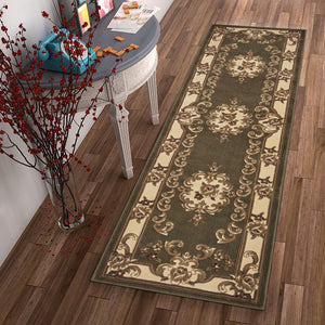 "2'2"" x 7'11"" Runner Polypropylene Green-Ivory Area Rug - Buy JJ's Stuff"