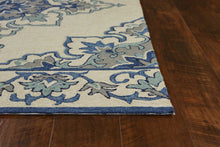 "3'3"" x 5'3"" UV-treated Polypropylene Ivory-Blue Area Rug - Buy JJ's Stuff"