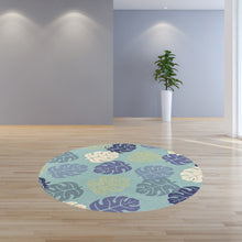 "7'6"" Round UV-treated Polypropylene Turquoise Area Rug - Buy JJ's Stuff"