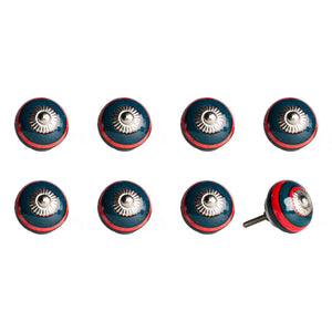 "1.5"" x 1.5"" x 1.5"" Ceramic-Metal Navy & Red 8 Pack Knob - Buy JJ's Stuff"