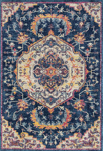 "94"" x 94"" x 0.35"" Midnight Blue Olefin-Frieze Round Rug - Buy JJ's Stuff"
