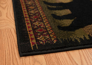"6 x 86"" x 0.4"" Black Polypropylene Bears Lodge Area Rug - Buy JJ's Stuff"